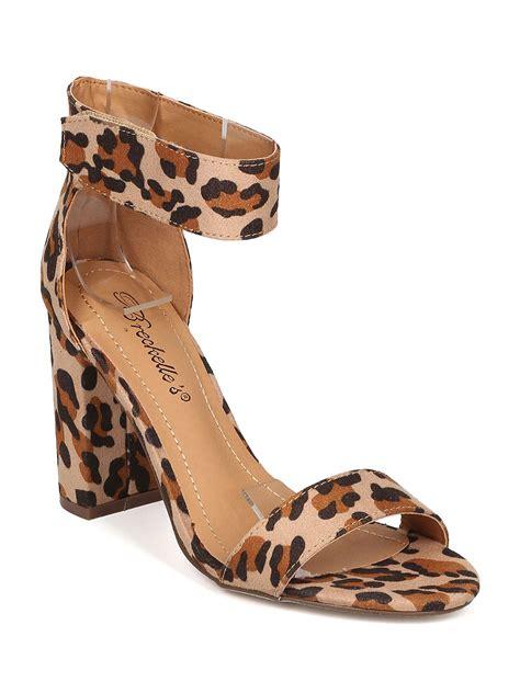 leopard sandals heels new breckelles aniston 12 leopard open toe ankle