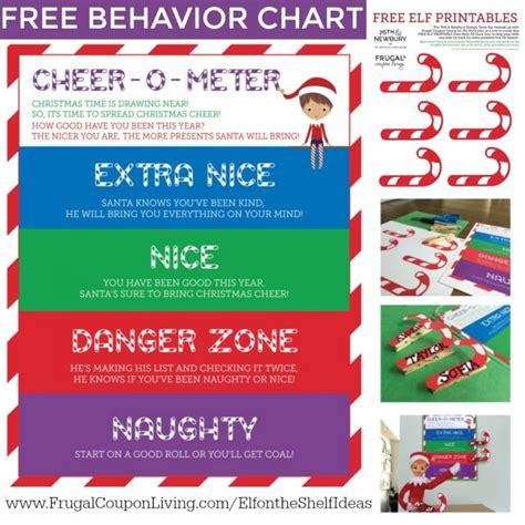 printable elf on the shelf coupons free elf on the shelf behavior chart cheer o meter