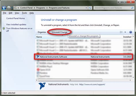 add or remove programs windows 7 uninstall or repair national instruments software or