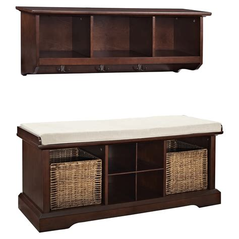 entryway bench and shelf set brennan 2 pieces entryway bench and shelf set mahogany dcg stores