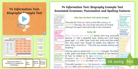 biography text for ks2 y4 information texts biography model exle text exle