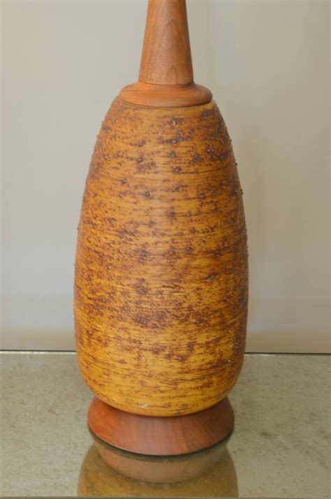 Ceramic Gourd L by Large Textured Ceramic And Walnut Gourd Shaped L For