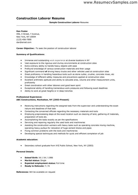 Resume Sles For Construction Workers Professional Construction Worker Resume Sle