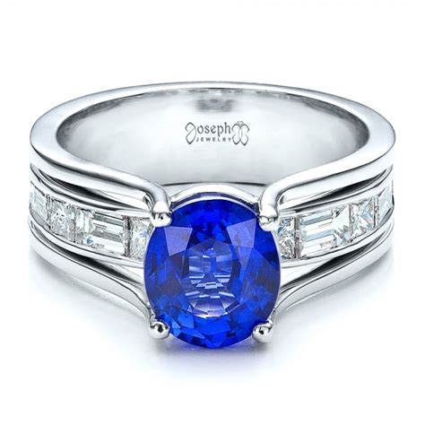 custom oval blue sapphire engagement ring 100039