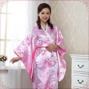 pink cherry blossom brocade floral kimono japanese costume