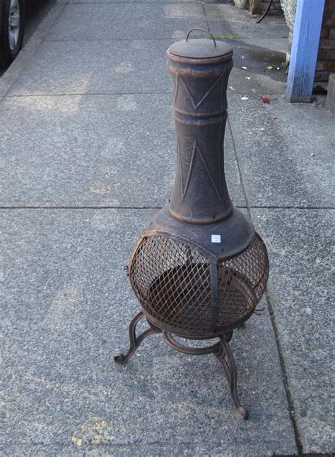 chiminea victoria un used metal chiminea outdoor free standing fireplace