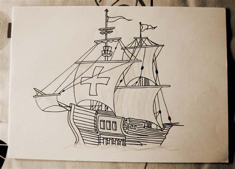 barco pirata dibujo a lapiz carabela ii caravel ii dibujo de una carabela