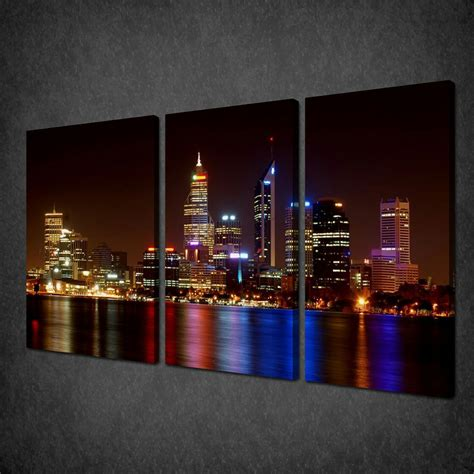 view of perth australia skyline 3 panels canvas