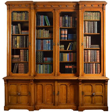 Large Bookcases For Sale Large Oak Four Door Bookcase For Sale At 1stdibs
