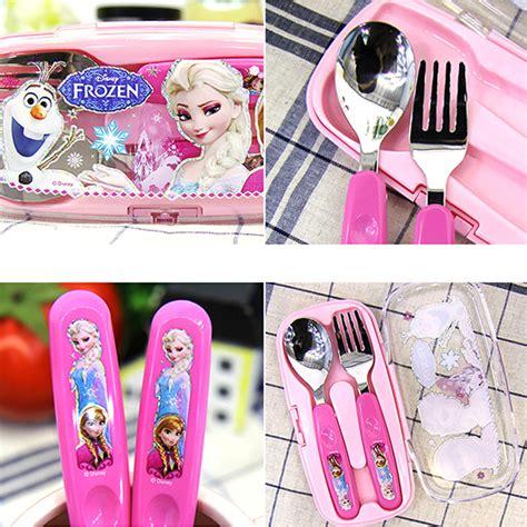Disney Frozen Breakfast Set Pink disney frozen stainless steel mealtime easy grip