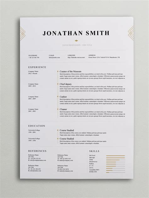 Chic Resume Templates Elegant Resume Template Word Psd