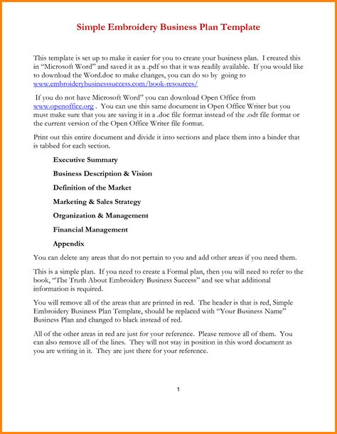 simplified business plan template 7 simple business plan template word letter format for