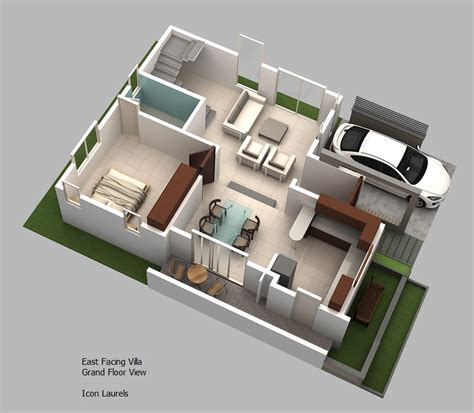 3d ground floor plan east facing plans 3 bhk duplex villas
