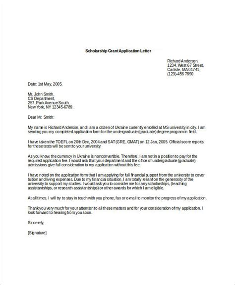 Reference Letter Sle For Scholarship application letter sle scholarship grant 28 images