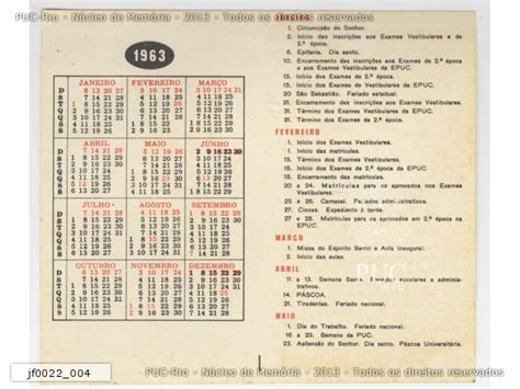 Calendario De 1963 Calend 225 N 250 Cleo De Mem 243 Ria