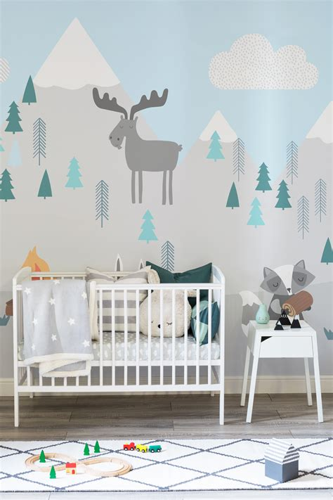 kids woodland bedroom kids mountain scene wall mural best pastel mint snowy