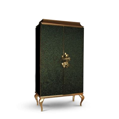 metal armoire luxury green peacock feather gold leaf and gold metal ribbon armoire