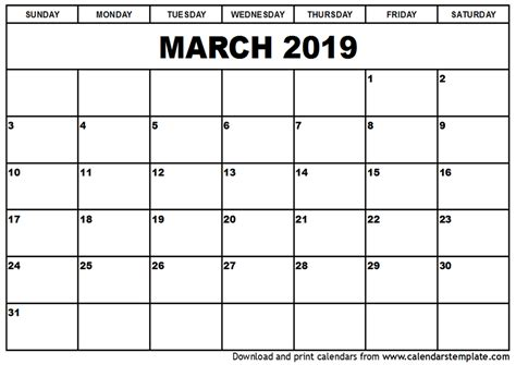 Calendar 2019 March March 2019 Calendar Template