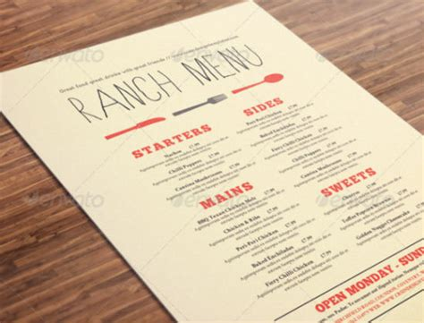 design menu a3 well designed menu templates for restaurants in need