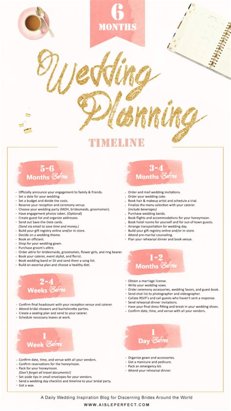 Wedding Checklist 3 Months by 6 Month Wedding Planning Timeline Aisle