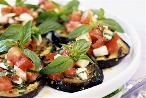 spanish grilled eggplant  tomato vinaigrette recipe