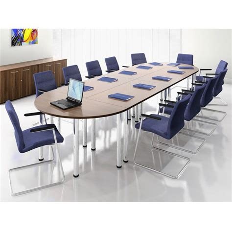 modular meeting or tables on pole legs oval