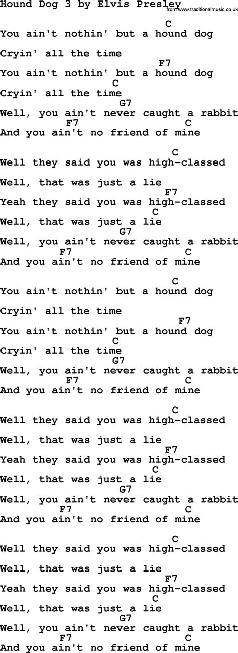 hound chords hound 3 by elvis lyrics and chords