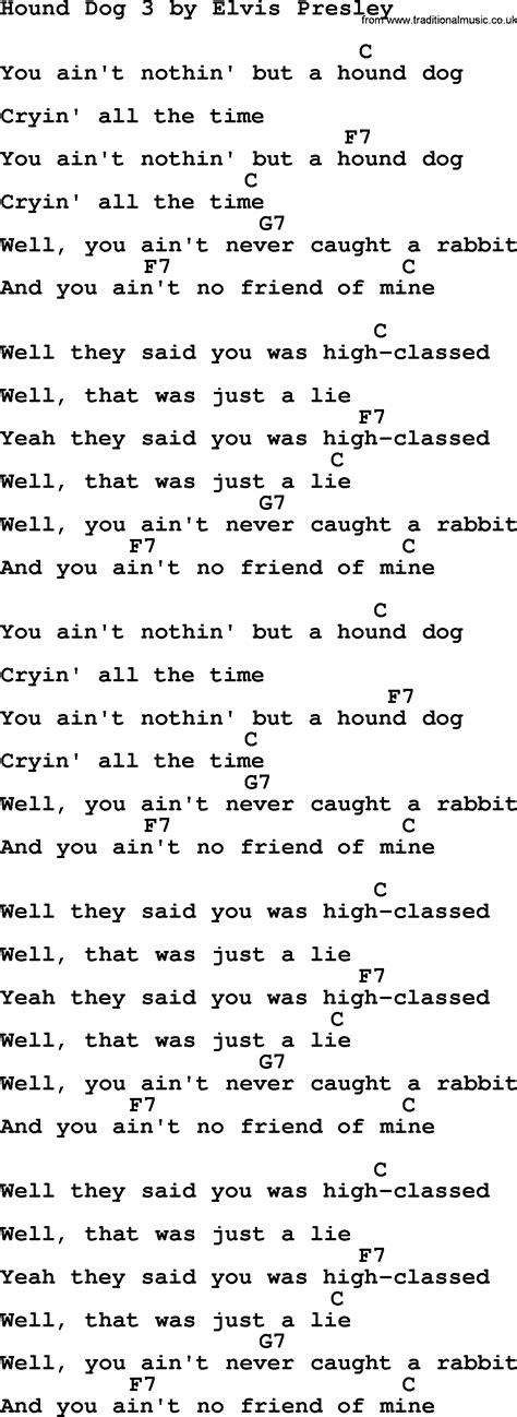 puppy lyrics hound 3 by elvis lyrics and chords