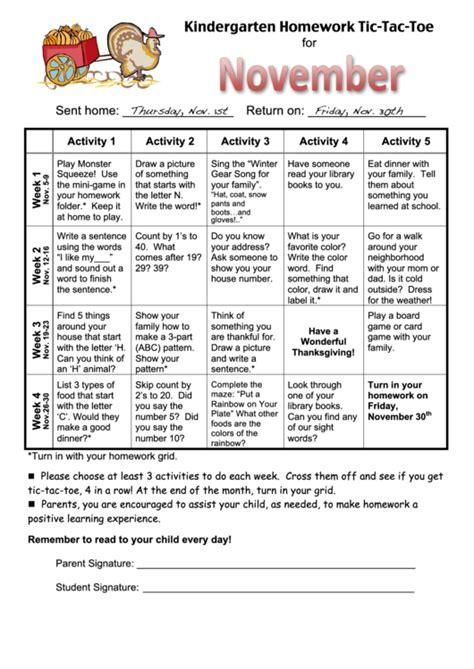 tic tac toe homework template kindergarten homework tic tac toe printable pdf