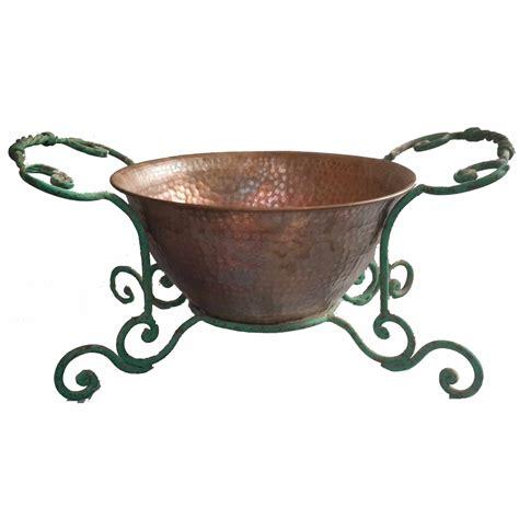 Handmade Wrought Iron - handmade wrought iron copper planter holder pit