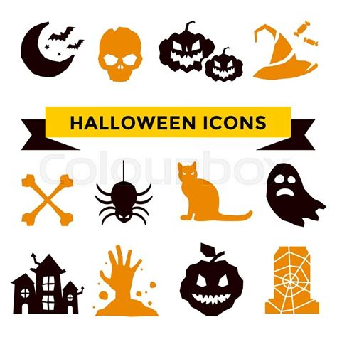 vector icons set pumpkin witch broom