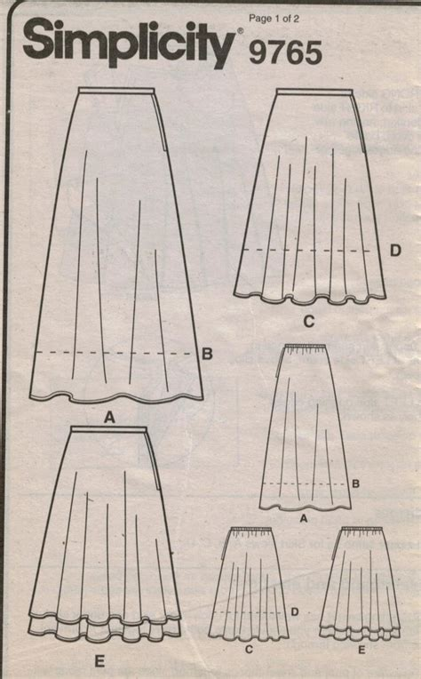 simple pattern a line skirt simplicity 9765 easy skirt pattern a line long and short