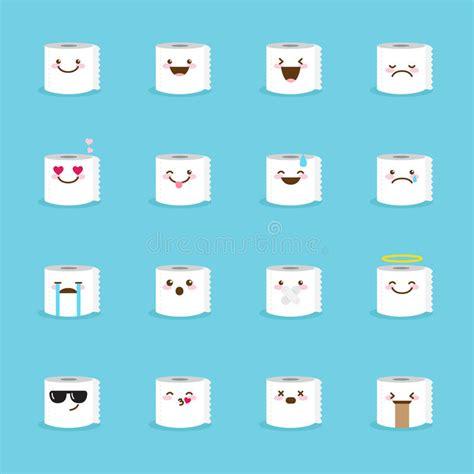 Toilet Paper Emoticon by Vector Toilet Paper Emoji Set Funny Emoticons Stock