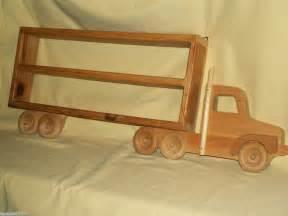 Truck Wheels Shelf Wood Wooden Semi Tractor Trailer Truck Display Wall Shelf
