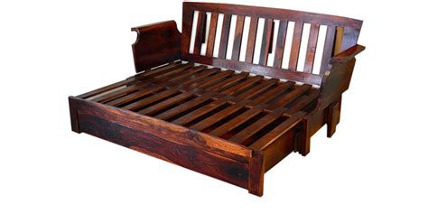 cinnamon storage wooden sofa bed with mudramark by