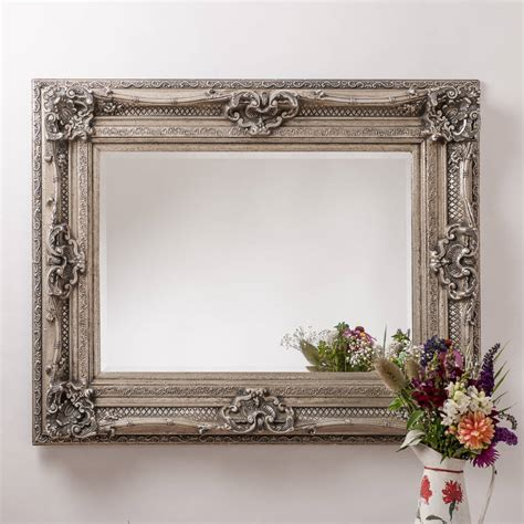 Handcrafted Mirrors - antique silver ornate rococo mirror by crafted