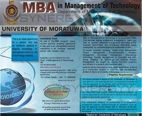 Mba In It Of Moratuwa by Mba In Management Of Technology From Of