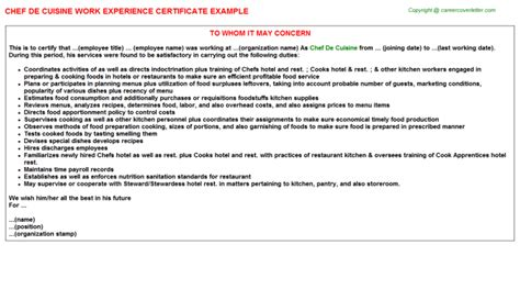Work Experience Letter Of Chef chef de cuisine work experience letters