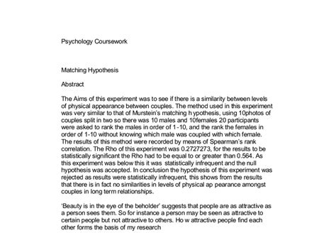 debrief template psychology matching hypothesis a level psychology marked by