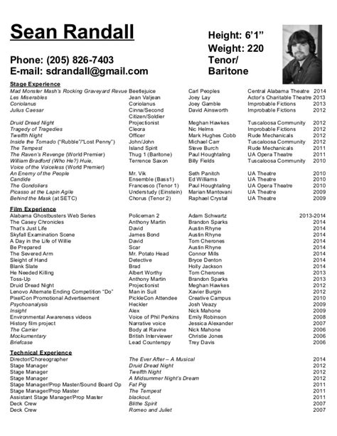 Theatrical Resume by Theatrical Resume