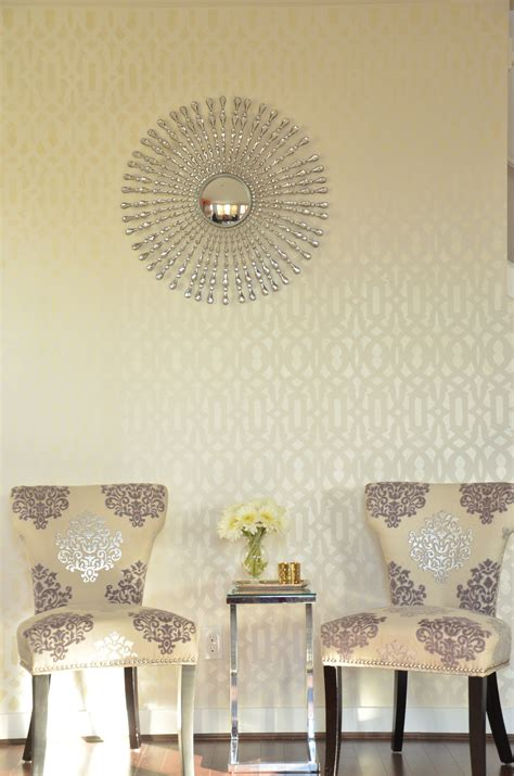 Fun Dining Room Chairs A Glamorous Trellis Stenciled Accent Wall Stencil
