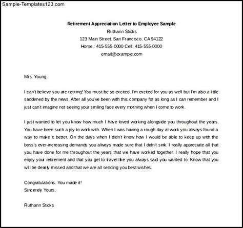 appreciation letter to employees parents retirement appreciation letter to employee sle free