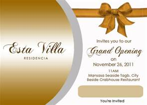 business inauguration invitation card sle steven minds esta villa grand opening invitation card