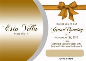 invitation card for business opening steven minds esta villa grand opening invitation card