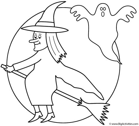 large ghost coloring page witch on broom with the moon and ghost coloring page