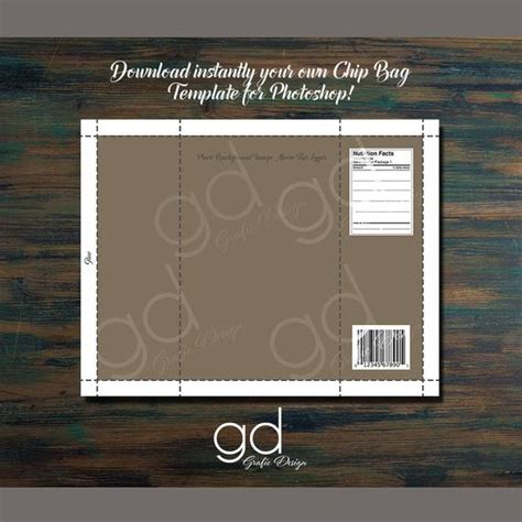 Chip Bag Template Printable Downloadable Photoshop File Free Chip Template