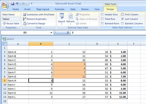 microsoft excel table templates show or hide table formatting elements table format