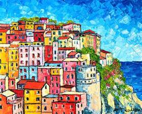Colorfu Houses Painting cinque terre italy manarola colorful houses painting by