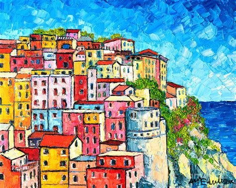 colorful houses painting cinque terre italy manarola colorful houses painting by