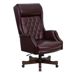 leather office chair flash high back traditional tufted burgundy leather